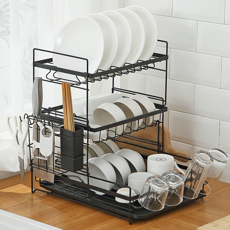 Dish Rack Kitchen Shelf Countertop Tableware Plate Chopsticks Dish Rack Floor Drain Rack to Dry Table and Chopsticks Storage Rack