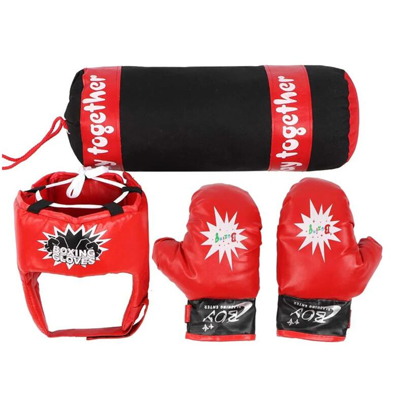 PU Leather Children Boxing Gloves Hand Target Punching Bag Set Home Fitness Kids Exercise Decompression Sandbag