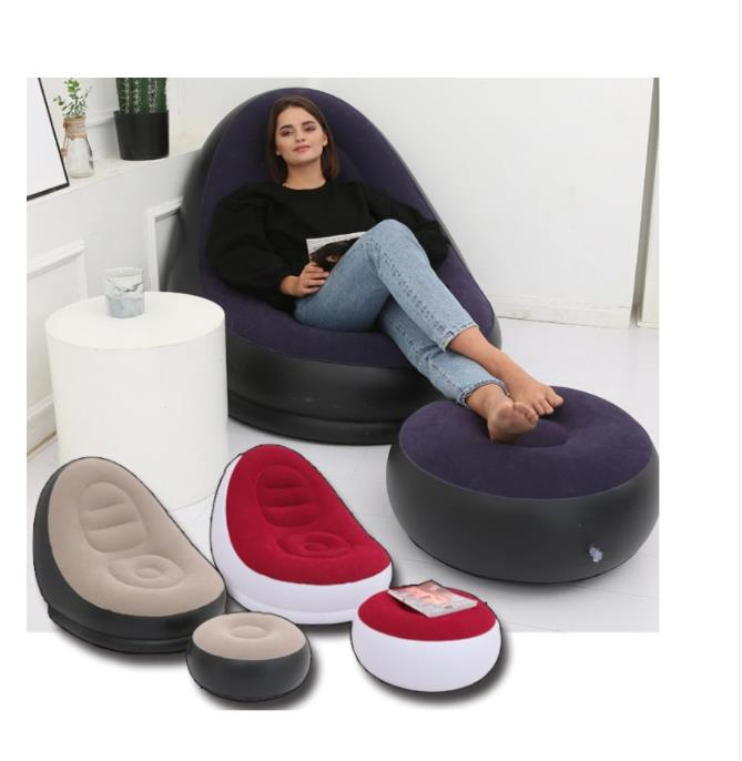 Adult Inflatable Sofa Two-Piece Set with Foot Pedals and Thick-Flocking Sofa Is a Hot Cross-Border Selling Leisure Inflatable So
