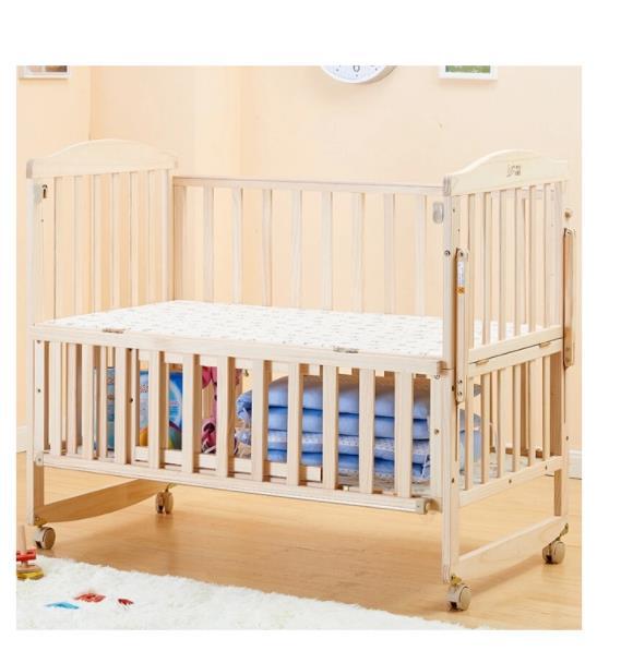 Solid Wood Crib Non-Lacquer Multi-Function Crib for Children Newborn Baby