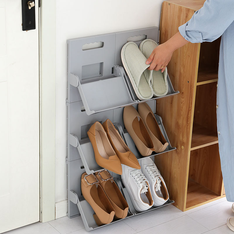 Vertical Assemblable Splicable, Foldable Perforated Simple Shoe Rack
