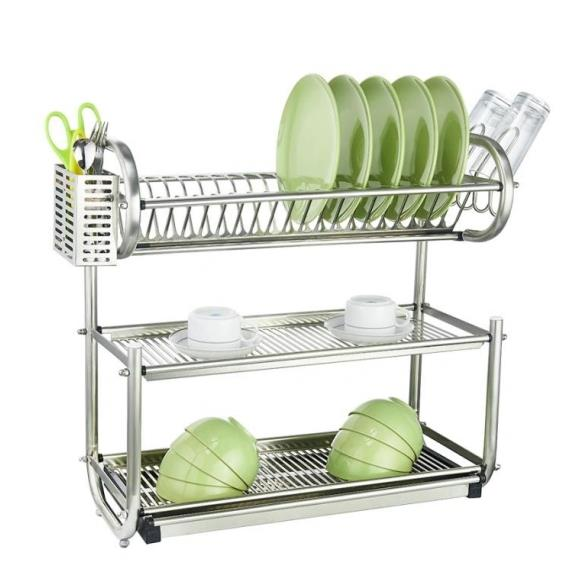 Stainless Steel Dish Rack Kitchen Plate Bowl Drying Rack