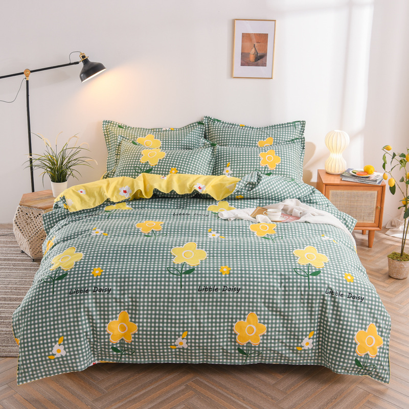 Factory Wholesale Autumn and Winter Pure Cotton Brushed Four-Piece Set, New Thick Cotton Bed Linen Quilt Cover Bedding