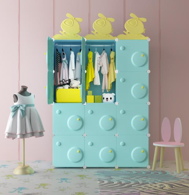 Easy to Assemble Three-Dimensional Storage Cabinets Cute Children′s Wardrobe
