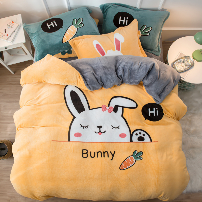 Thickened Large Four-Piece Fleece Set for Autumn and Winter Warmth Cartoon Coral Fleece Bedding Kit