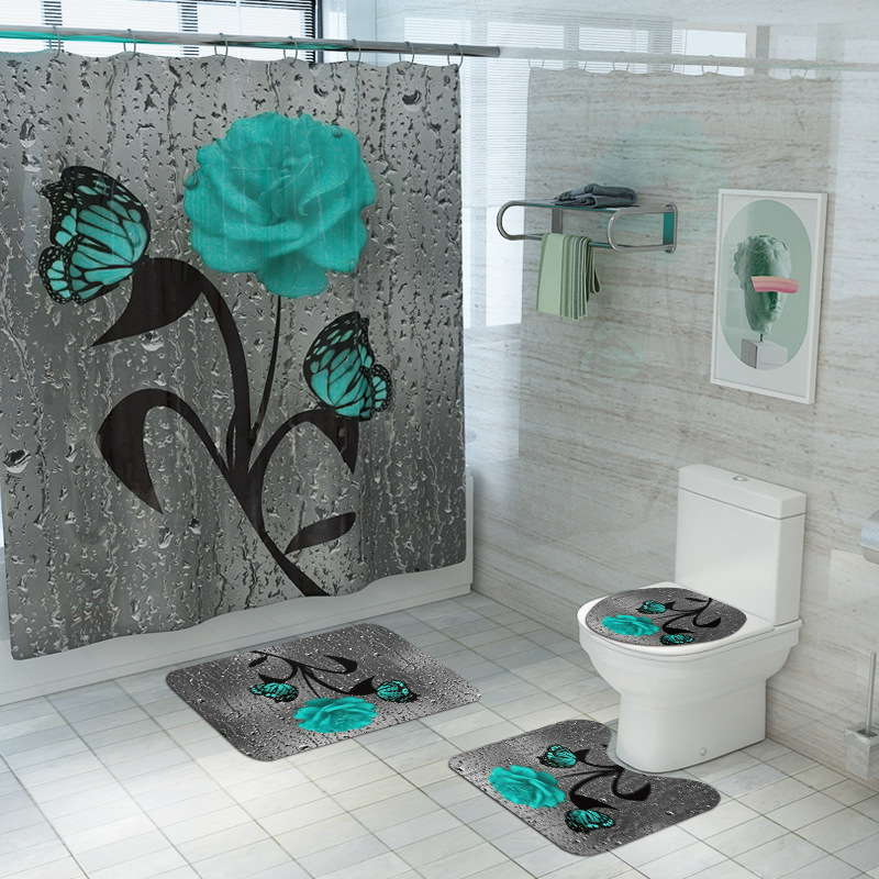 New Hot Sale Flower Butterfly Printing Waterproof Shower Curtain Carpet Four-Piece Toilet Pad Set