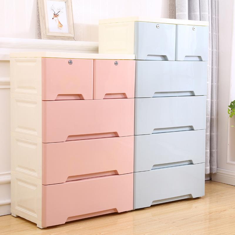 Simple Multi-Layer Drawer Type Five Drawer Storage Cabinet Sundries Storage Box Large Plastic Wardrobe Bedroom Storage Cabinet