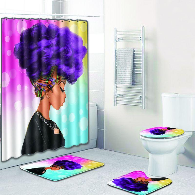 African Woman Digital Printing Creative Bathroom Shower Curtain Floor Mat Four-Piece Set