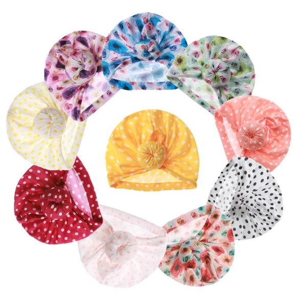 Baby Donut Hat, Children′s Print Knotted Hood, Baby Wave DOT Pullover Hat