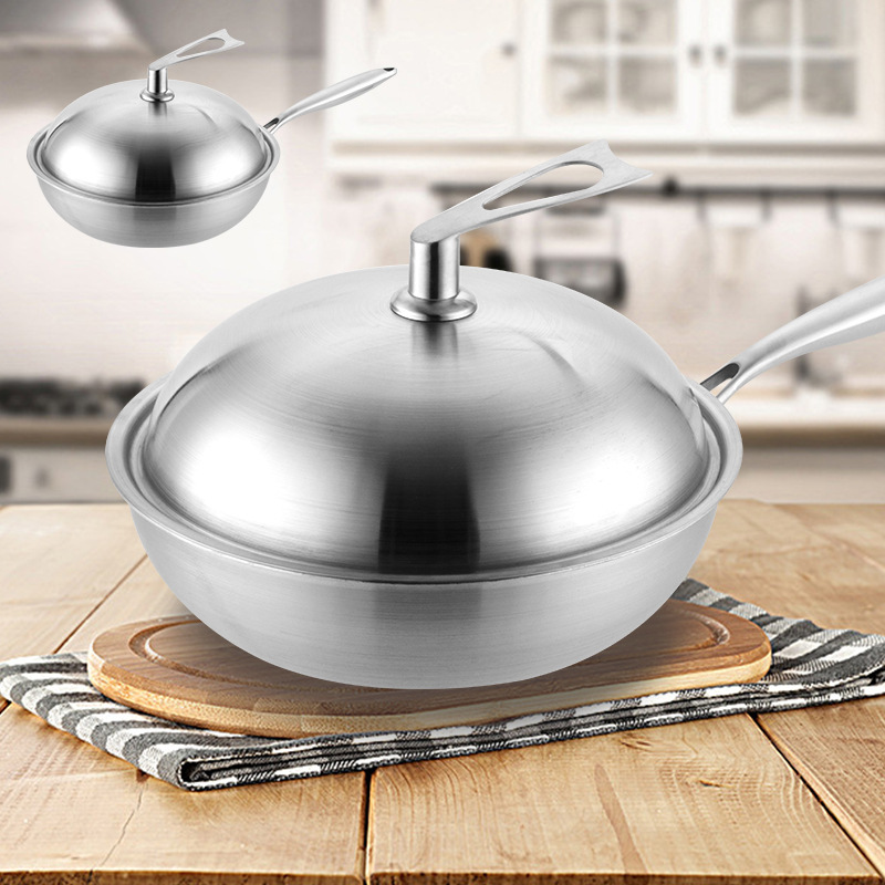 304 Stainless Steel 30-34cm Durable Non-Stick Wok