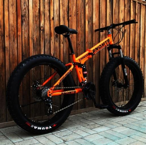 Collapsible Snowmobile Dual Shock Absorption Dual Disc Brake Soft Tail Mountain Bike 4.0 Broadened Large Tires 26