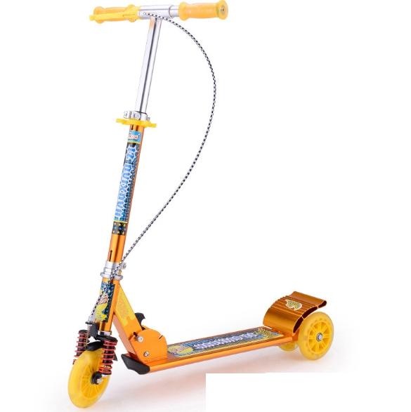 Children′s Full Aluminum Hand Brake Scooter Toy for Children′s Three Wheel Big Wheel Double Brake Big Shock Absorber Scooter