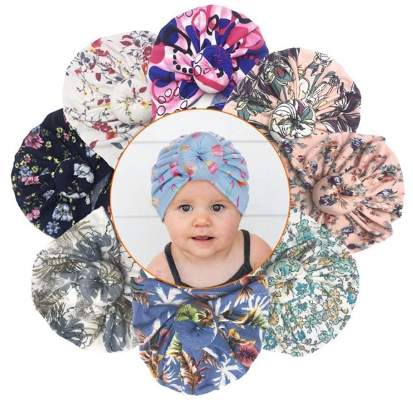 New Spring and Autumn Baby Donut Hat Print Knotted Headpiece Hat Baby Pullover Hat