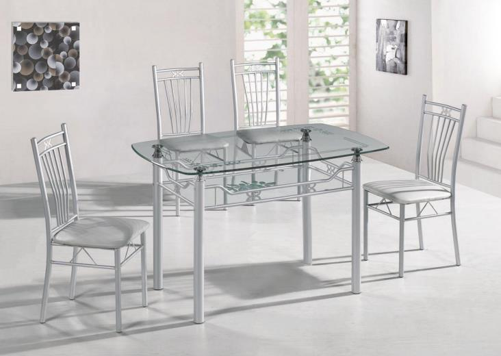 Factory Wholesale Complete Set of Dining Table and Chair Modern Minimalist Glass Dining Table Set