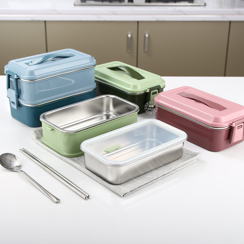304 Stainless Steel Double-Layer Compartment Sealed Portable Leak-Proof Thermal Insulation Lunch Box
