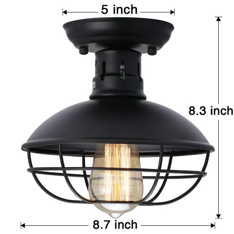 Retro Punk Industrial Wrought Iron Single Head Iron Mesh Pot Cover Shape Ceiling Lamps