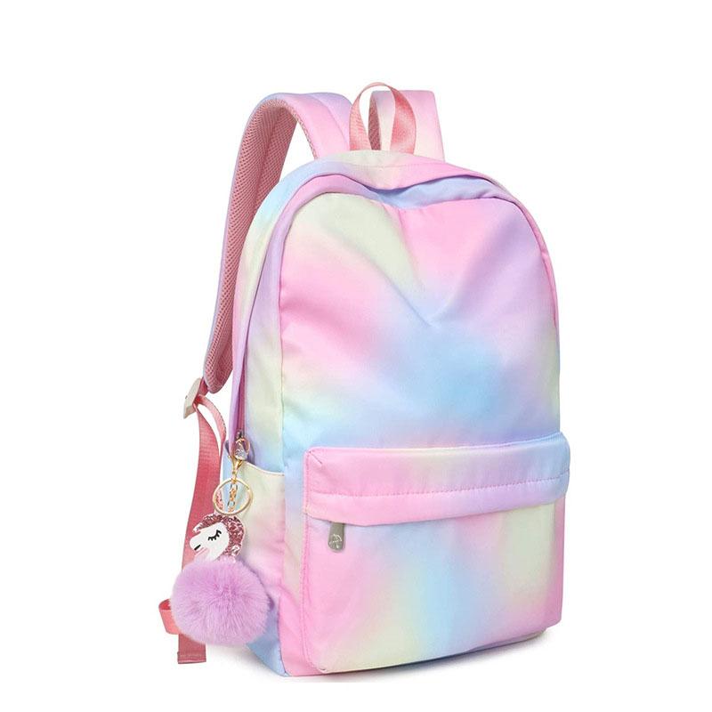 Custom Waterproof Gradient Rainbow Backpack Student Outdoor Leisure Printing School Bag Sports Bag