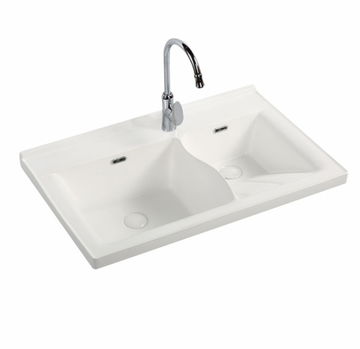 Factory Direct Sale Easy Clean Anti-Fouling Simple Laundry Tub Ceramic Double Basin with Tap Hole Washboard