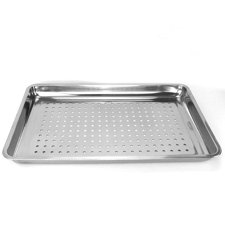 304 Stainless Steel Square Dish Food Trays Kitchen Draining Tray