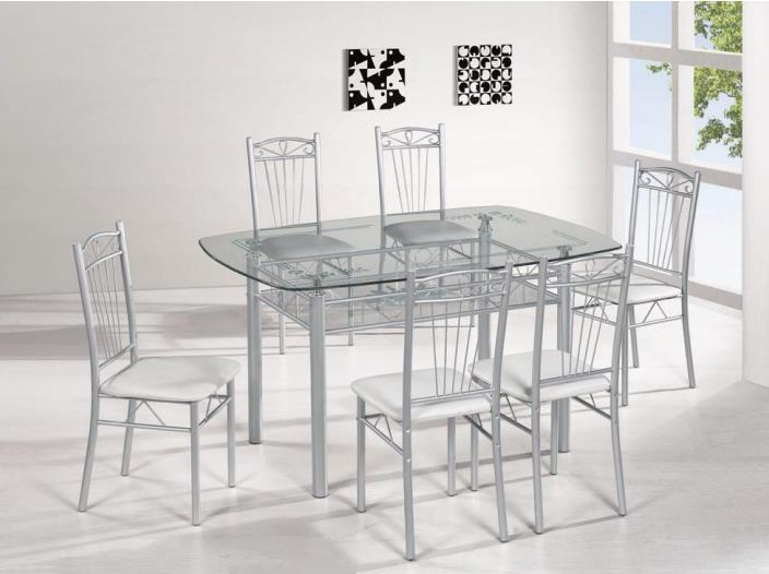 Nordic Minimalist Style Home Glass Dining Table Set