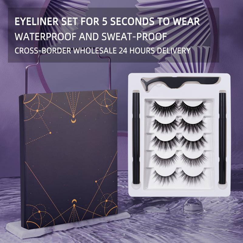 Factory Wholesale 5 Pairs Mixed Self-Adhesive 2 Black Sticky Eyeliner False Eyelashes Set