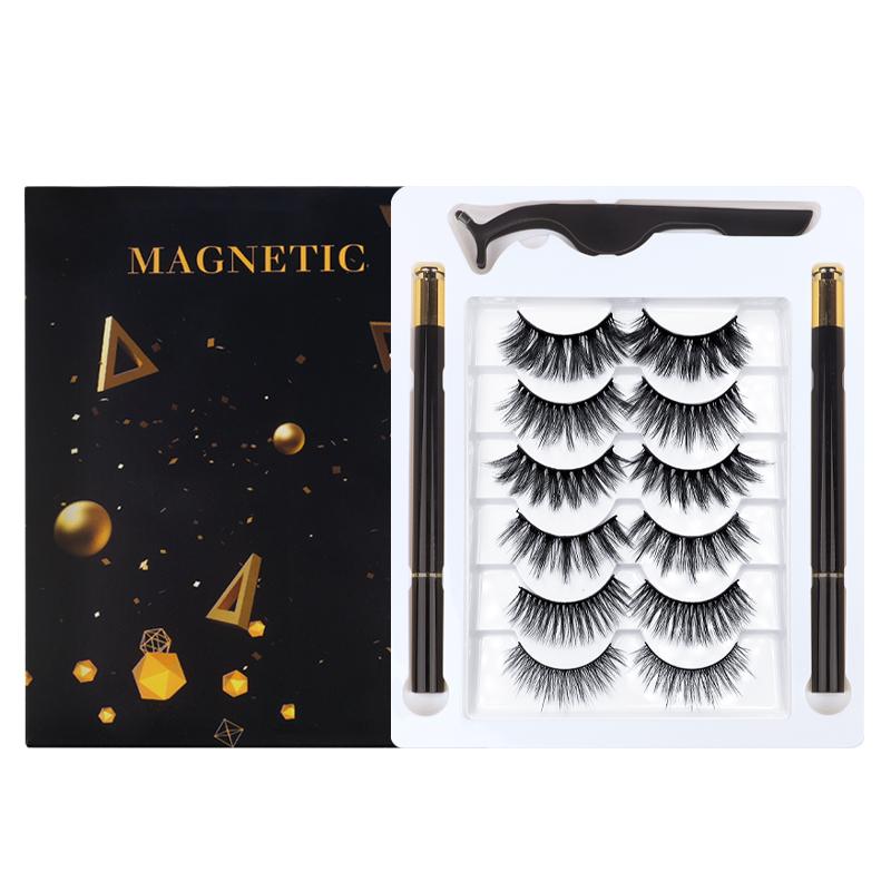 Spot Wholesale 6 Pairs of Push-Type Black Self-Adhesive Eyelashes Eyeliner Set 3D False Eyelashes