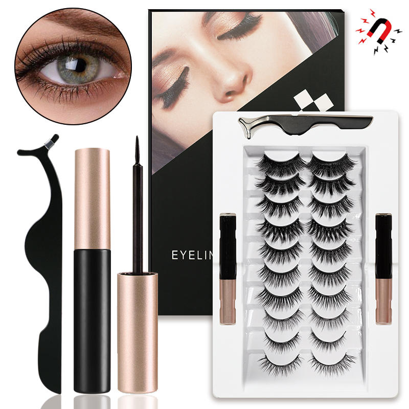 New Two Magnetic Eyeliner and 10 Pairs of Mixed Glue-Free Magnetic False Eyelashes Set with Tweezers