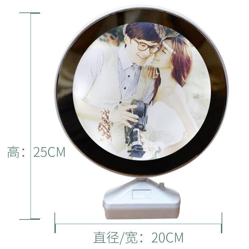 Magic Mirror Photo Frame Set Plastic Round USB Light Creative Photo Studio Photo Frame