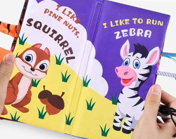 0-3 Years Old Baby Early Education Cloth Book Three-Dimensional Cartoon Tail Cloth Book Tear Baby Educational Enlightenment Toy