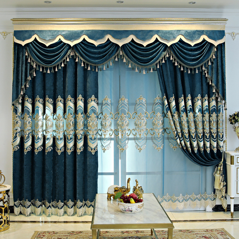 Light Luxury Chenille Hollow Embroidered Curtain Window Curtain Curtain Head Curtain