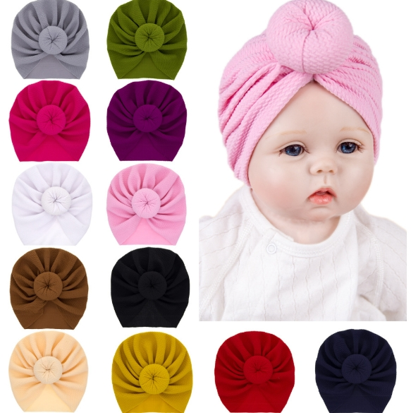 Europe and The United States Infant Solid Color Ball Head Cap Neonatal Round Ball Cap Cap Children Solid Color Cap Wholesale