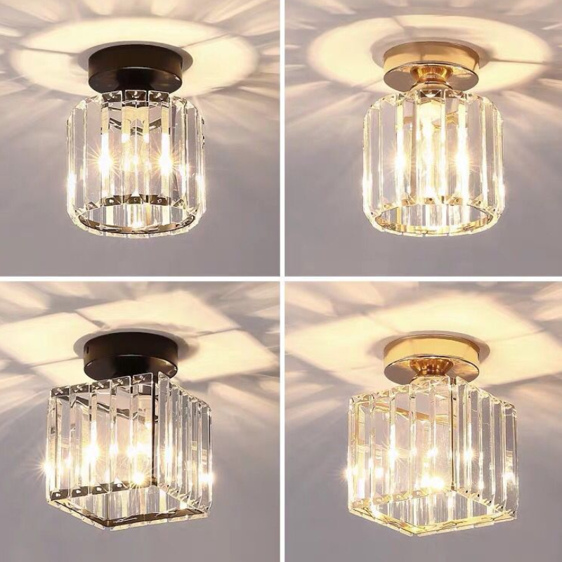 Wholesale Square/Round Balcony Aisle Cloakroom Crystal Ceiling Pendant Lights