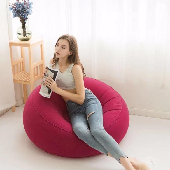 Inflatable Recliner Single Flocked Sofa Inflatable Outdoor Sofa Study Sofa