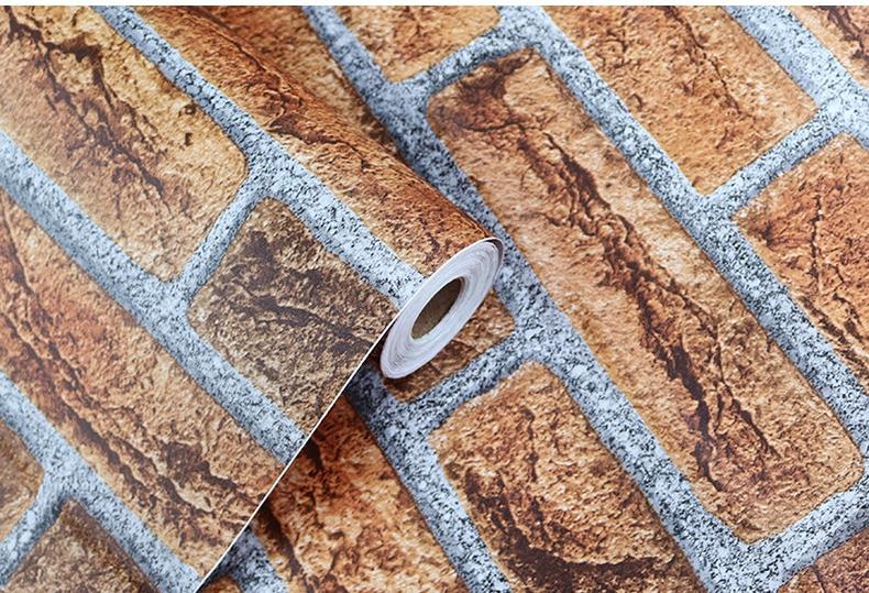New 3D Stone Brick PVC Vinyl Wholesale Cheap Home Wall Paper/Wallpaper