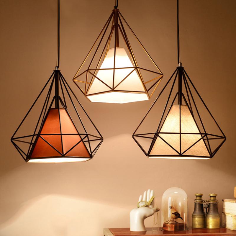 Nordic Retro Wrought Iron Creative Loft Bar Table Simple Personality Aisle Diamond Shape Pendant Lights