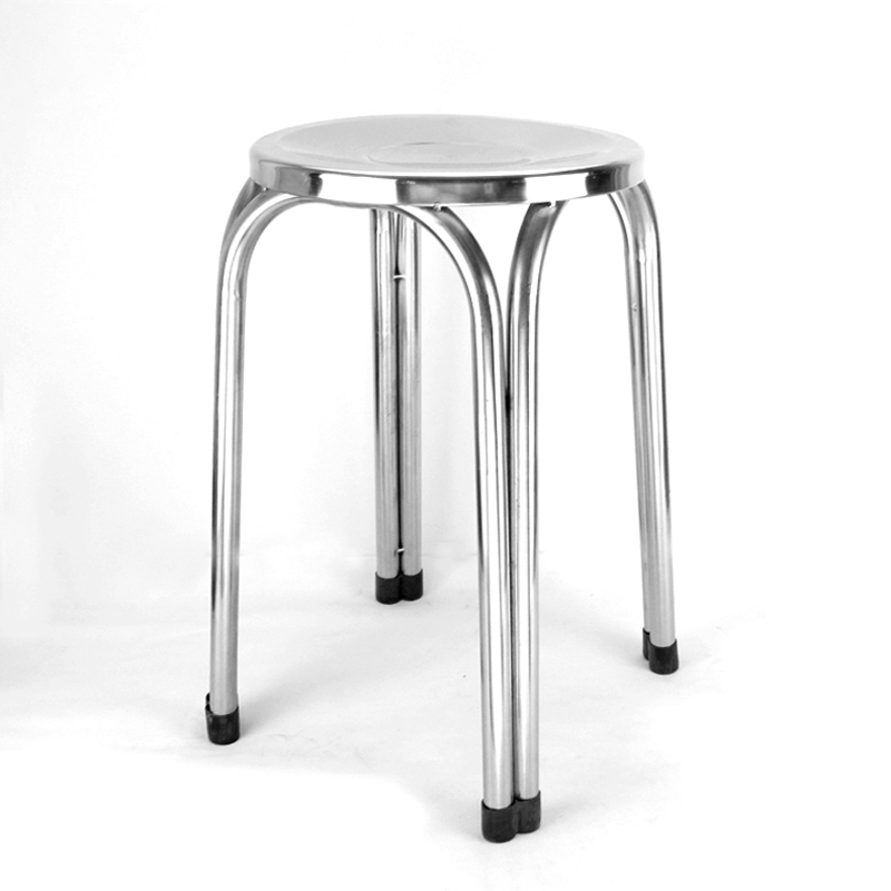 201 Stainless Steel Dining Chair Wholesale 30cm New Round Office Four-Legged Chair Manufacturer Direct Sale