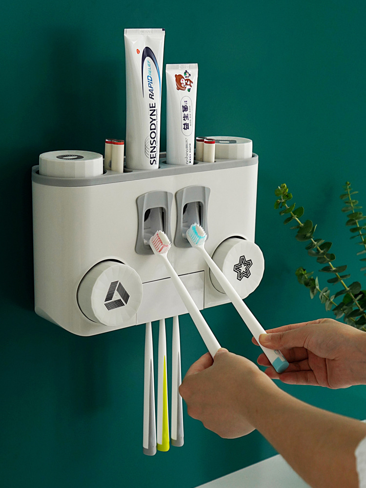 New Toothbrush Holder, Toothpaste Squeezing Device, Bathroom Shelf, Washing Utensils Storage Rack, Wall-Mounted, Punch-Free Mouthwash Cup Holder