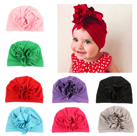 New Baby Pullovers a Number of Solid-Color Children′s Indian Hats European and American Floral Baby Hats