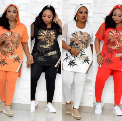 African Mother Wear 2020 New Print Loose-Fitting T-Shirt Leggings Nine-Piece Two-Piece Suit for Women