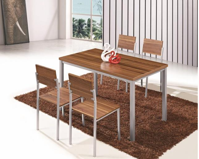 Small and Simple Customized Dining Table with 4 Chairs for Home Dining Room
