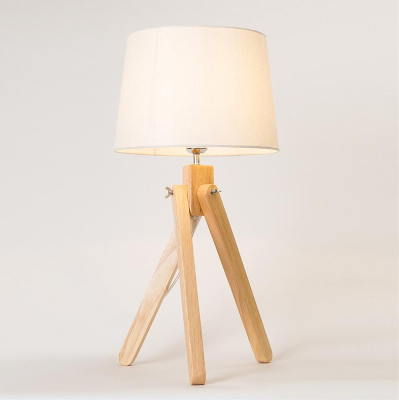 Personalized Creative Log Wooden Reading Decoration Tripod Table Lamps