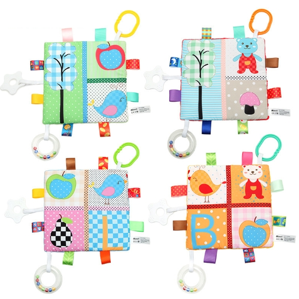 Cute Color Multipurpose Label Soothing Towels with Sound Paper Teeth Tape Ring Baby Soothing Toys Wholesale