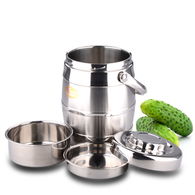 Stainless Steel Double-Layer Heat Preservation Pot Heat Preservation Tableware Bowl Drum Portable Lunch Box