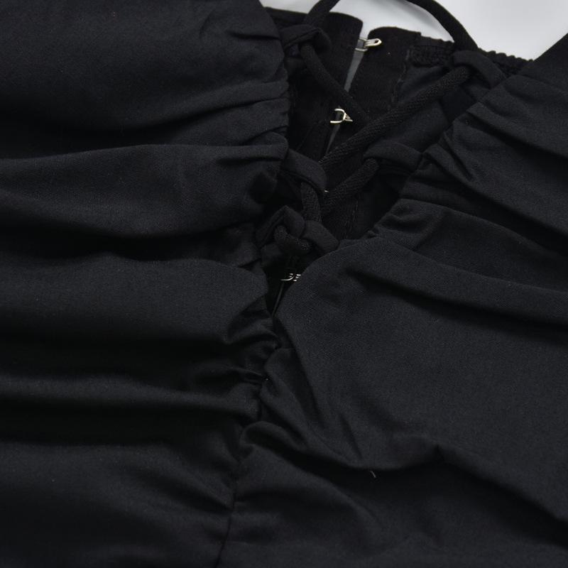 2021 Summer Ladies Women Sexy V-Neck Tie Ruffles Camisole
