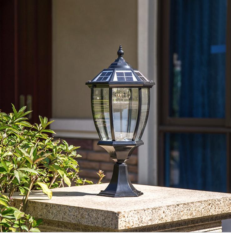Garden E27 Outdoor Waterproof Electricity or Solar Powered LED Pillar Lights