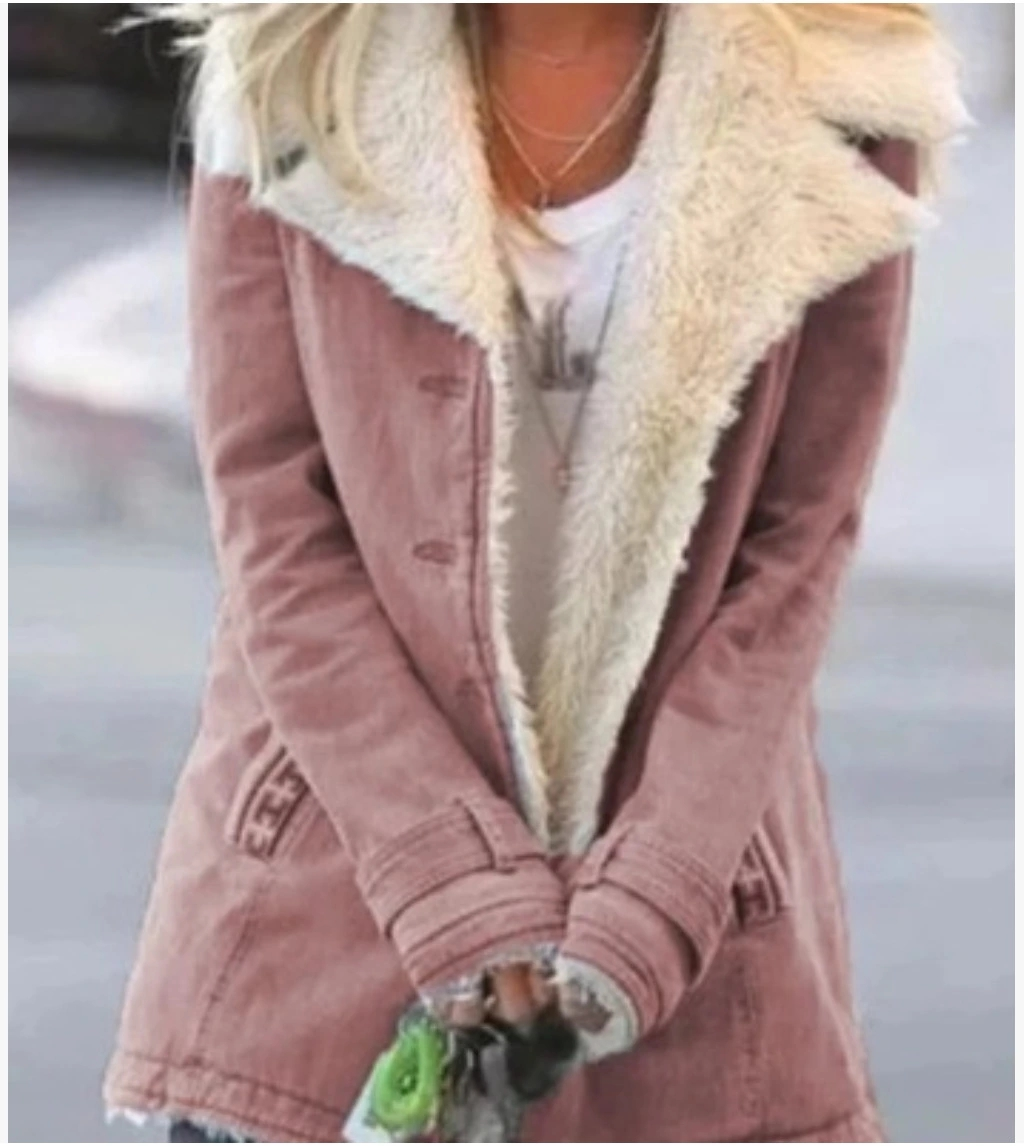 Winter Multi-Color Solid Color Women Thick Long-Sleeved Plus Velvet Warm Cotton Coat