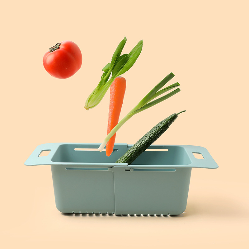Increase and Thicken Telescopic Vegetable Washing Basket Sink Drain Rack Shelf Vegetable Washing Basket