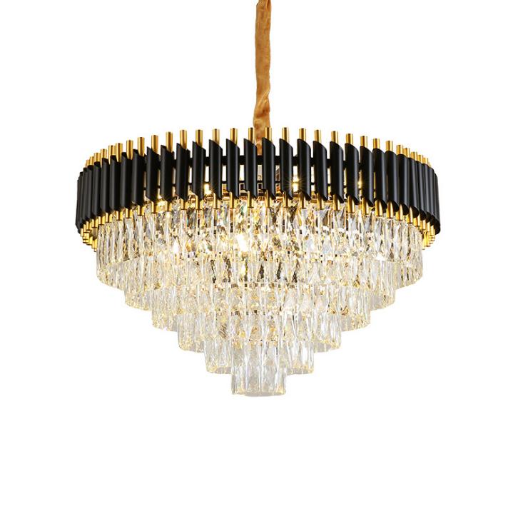 Modern Design Black Crystal Cristal Luxury Round Chandelier for Living Room