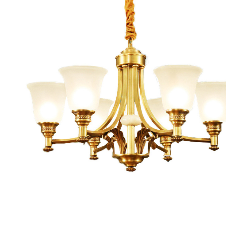 American Style Luxury Full Brass Body Frosted Glass Drop Suspension Chandelier Pendant Light