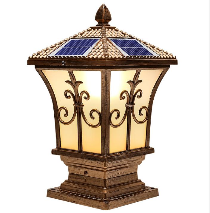 Outdoor Classical Aluminum Solar Powered Pillar Light for Wholesale